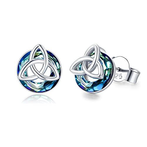 Celtic Earrings 925 Sterling Silver Celtic Knot Crystal Earrings Hypoallergenic Triangle Knot Stud Earring Good Luck Irish Celtic Jewelry for Women