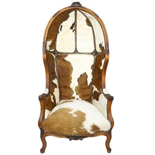 Casa Padrino sillón Trono Barroco Victory Piel de Vaca/marrón - Silla Globo - Silla Trono Tron - sillón con Capucha