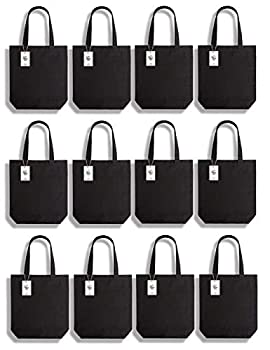 Lily Queen Natural Canvas Tote Bags DIY Reusable Shopping Grocery Bag  Black - 12 Pack