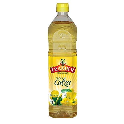 Tramier Huile de colza (1 x 1 L), bouteille d'huile 100 % issue de la graine des fleurs de colza, huile alimentaire riche en oméga 3 idéale pour recette & assaisonnement