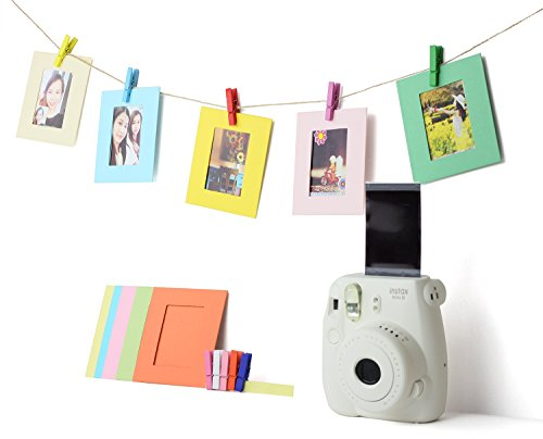 5 in 1 Colorful Bundle Kit Accessories for Fujifilm Instax Mini 9/8 Camera - Assorted Accessory Pack of Sticker Frames, Plastic Desk Frame, Hanging Clips with String (Basic)