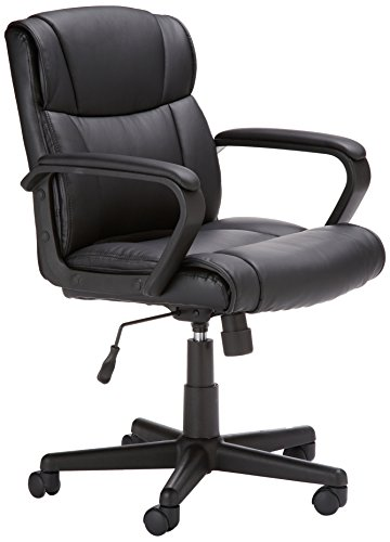 Amazon Basics Padded, Ergonomic, Adjustable, Swivel Office Desk Chair with Armrest, Black Bonded Leather