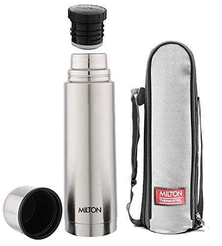 Milton Plain Lid 1000 Thermosteel 24 Hours Hot and Cold Water Bottle, 1000 Milliliters, Silver,Set of 1
