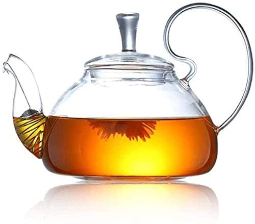 DBOATB Tetera Tetera pequeña Hervidor de té de Hojas Sueltas Infusor de té de Vidrio Transparente Grueso Resistente al Calor para Oficina, Conferencia, Fiesta, Taza de té (600 ml)