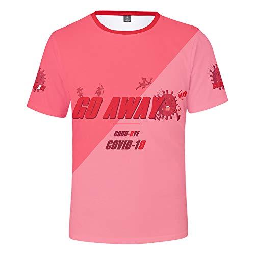 W&TT Uomo Donna Bambino novità Covid-19 T-Shirt di Avvertimento Resistenza alla Stampa 3D T-Shirt in coronavirus Camicie Unisex Girocollo Manica Corta,Rosa,XS S