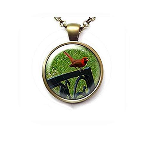 heng yuan tian cheng rode vogel hanger, noordelijke kardinaal op een tuin bank ketting, vogel liefhebber geschenk, vogel Watcher sieraden