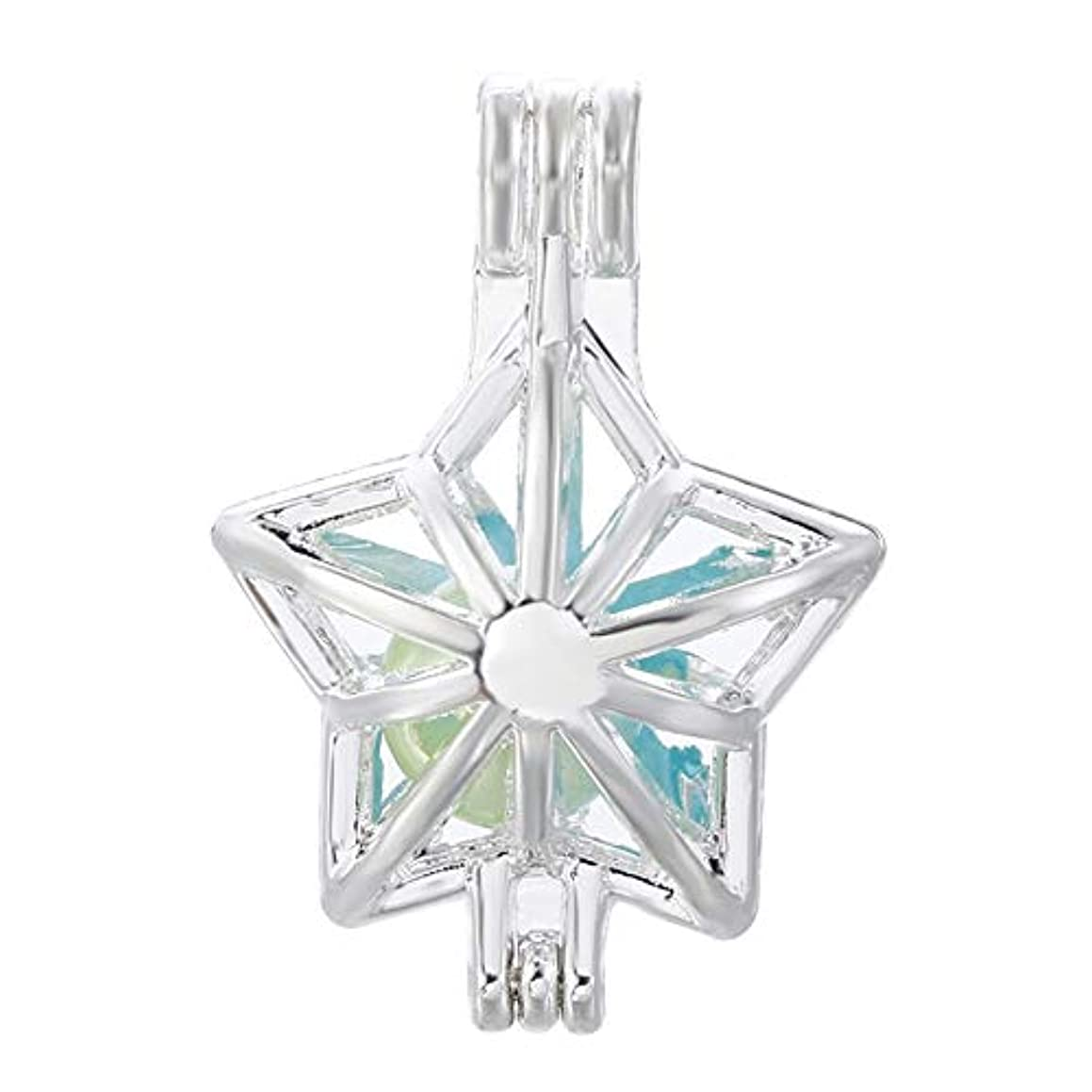 10pcs Christmas Star Pearl Cage Bright Silver Beads Cage Locket Pendant Jewelry Making-for Oyster Pearls, Essential Oil Diffuser, Fun Gifts (Christmas Star)