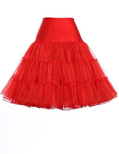 GRACE KARIN Faldas Rockabilly Enaguas Rojos para Chica 3# S