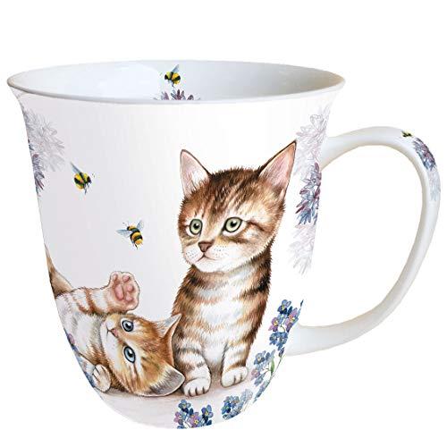 Ambiente Becher Mug Tasse Tee / Kaffee Becher ca. 0,4L Floral Kitten und Bienen Cats And Bees