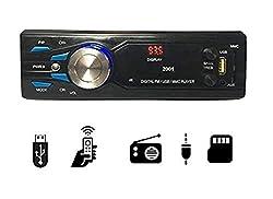 Gadget 2001 Single Din USB Fm Aux Mmc with 3.5mm Aux Cable Car Stereo System Music Player (Black),Gadget Deals,2001