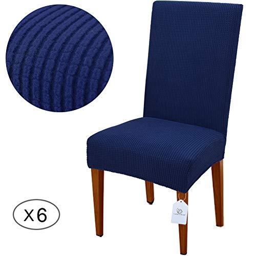 LUOLLOVE Stuhlhussen, Stretch Abnehmbare Waschbar Stuhlbezug für Esszimmerstühle,Stretch Stuhl Mit Gummiband für Esszimmer(6er,Blau)