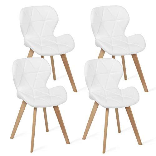 IDMarket - Lot de 4 chaises ROBINE Blanches pour Salle à Manger