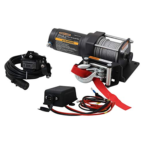 Rockland VMI03 3,500 Pound Off Road 12 Volt DC Electric Integrated Winch Kit with Wire Rope and Wired Handlebar Rocker Accessory for ATV Recovery, Shop, and Utility