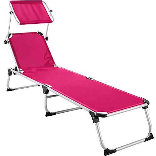 TecTake 800812 Alu Sonnenliege mit Dach, klappbar, Gartenliege mit 6-Fach Verstellbarer Rückenlehne und 2 Tragegriffen, 205 cm Liegefläche, pink