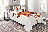 ABAKUHAUS Tintenfisch Tagesdecke Set, Mythische Monster-Motiv, Set mit Kissenbezug Mit Digitaldruck, für Einselbetten 170 x 220 cm, Orange Weiß