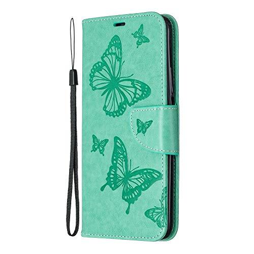 Nokia 2.4 Handyhülle, Schmetterling-geprägt, dünn, PU-Leder, Klapphülle aus weichem Silikongel, stoßfest, Schutzhülle für Nokia 2.4 mit Magnetverschluss, Ständer, Kartenhalter, Grün
