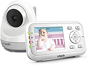 """VTech 2.8"""" Digital Video Baby Monitor with Pan & Tilt 1 Camera, Full Color and Automatic Night Vision, White"""
