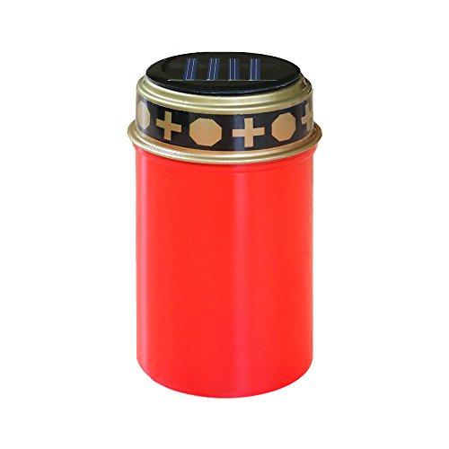 Lanterne funéraire solaire LED rouge blanc chaud avec capteur crépusculaire sans entretien et durable.