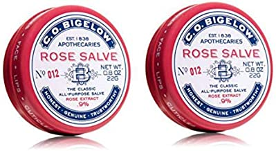 C.O. Bigelow All Purpose Classic Rose Salve Lip Balm, .8 Oz (22g) Tin, 2 Pack