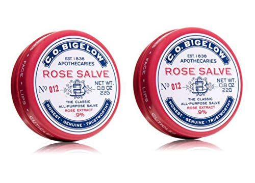 C.O. Bigelow All Purpose Classic Rose Salve Lip Balm, .8 Oz (22g) Tin, 2 Pack