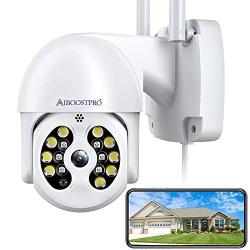 Kamera Überwachung Aussen, 3 MP Aiboostpro 1536p Überwachungskamera Aussen Wlan, PTZ IP Kamera Outdoor Mit Automatische Verfolgung, 30m Farbe Nachtsicht, 2-Wege Audio, IP66 Wasserdicht