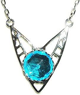 BERMUDA BLUE CZECH GLASS NECKLACE Silver Plt ART DECO