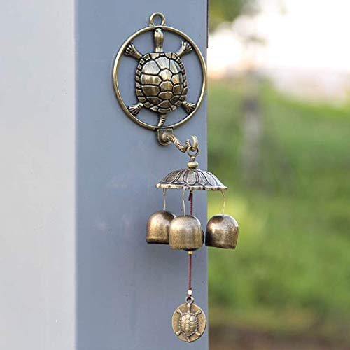 Beeld Beeld Beeld Dierenmuur, ♪ wandgemonteerde koperen drie-ring legering self-priming Feng Shui wind chime deurbel huisdecoratie wind chime 25x6x26 Dierlijke muur Figurines
