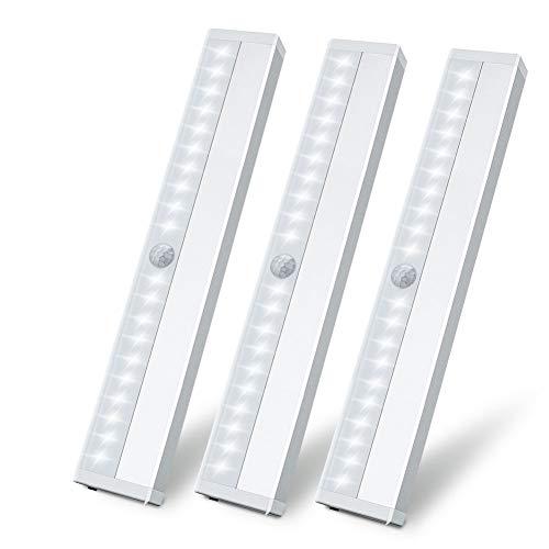 LED Schrankbeleuchtung mit bewegungsmelder, Schrankleuchten 20 LED Kleiderschrank Lampen Beleuchtung Küchenlampen USB Wiederaufladbar Schranklicht Wandlicht mit Magnetstreifen für Flur, Treppe