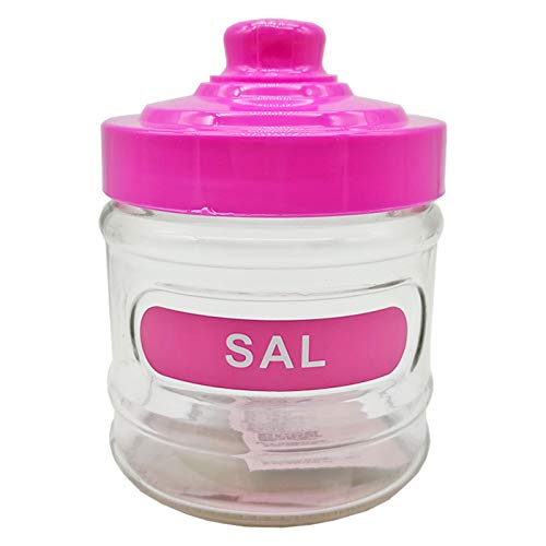 Salero de cocina de cristal redondo, 280 ml, con tapa de plástico, 10,5 x 8,3 cm. Bote, frasco, recipiente para guardar sal y otros condimentos (Rosa)