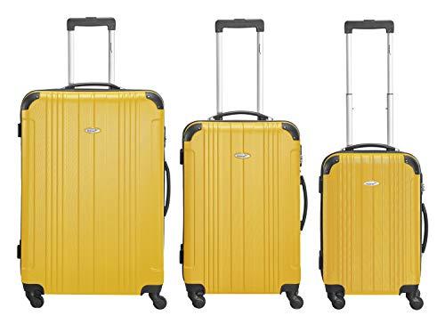 Packenger Kofferset - Goliath - 3-teilig (M, L & XL), 4 Rollen, Koffer mit Zahlenschloss, Hartschalenkoffer (ABS) Robuster Trolley Reisekoffer (Orange)