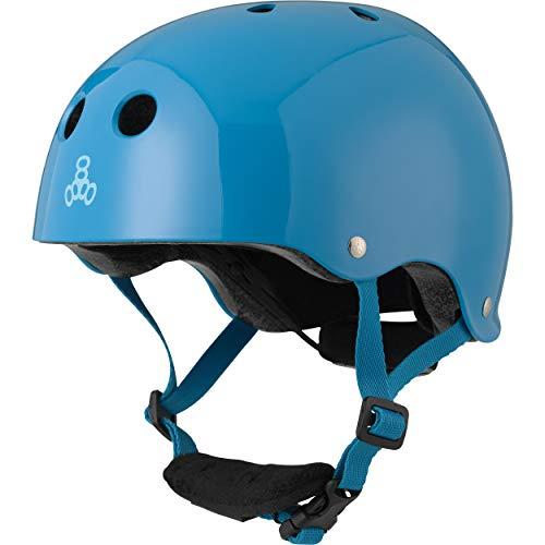 Triple Eight Lil 8 Dual Certified Sweatsaver Kids Skateboard and Bike Helmet with Padded Chin Buckle, Blue Glossy, (3928)