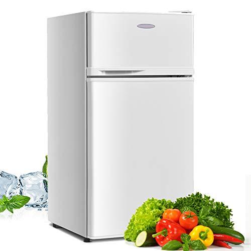 Compact Refrigerator, Safeplus 3.4 cu ft. Unit Cold-rolled Sheet Mini Refrigerator with freezer, Dorm fridge with Adjustable Removable Shelves,White