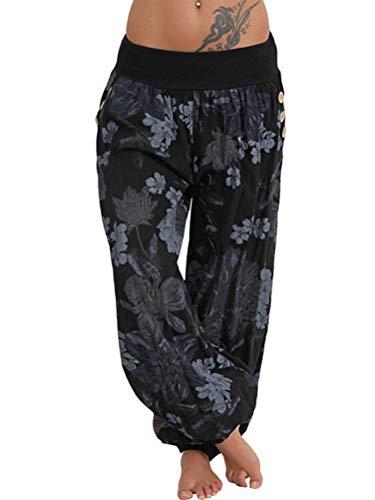 Tomwell Mujer Casual Harem Pantalón Floral Aladin Bombacho Sudadera Baggy Yoga Pantalones B Negro XXX-Large