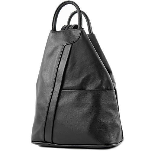 modamoda de - T180 - ital Damen Rucksack Tasche Nappaleder, Farbe:Schwarz