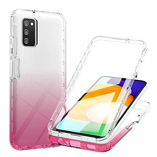 Nadoli per Samsung Galaxy A02S Custodia,Pendenza Rosso 360 Corpo Intero Copertura Doppio Strato Antiurto Trasparente Cover con Proteggi Schermo Integrato