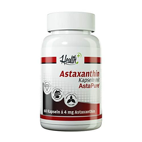 Health+ Astaxanthin - 60 Kapseln, natürliche Antioxidantien aus Mikroalgen, Astaxanthin Kapseln, hochdosiertes Antioxidans, vegan und ohne Zusätze - Made in Germany