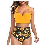 callm Women Swimsuit Two Piece Swimsuit for Women Floral Print High Waist Crop Tops+Shorts Two Piece Swimwear Halter Tankini Yellow