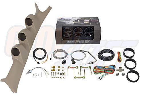GlowShift Diesel Gauge Package for 1999-2007 Ford Super Duty F-250 F-350 6.0L 7.3L Power Stroke - Tinted 7 Color 60 PSI Boost, 2400 F Pyrometer EGT & Transmission Temp Gauges - Tan Triple Pillar Pod