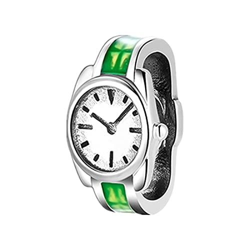LISHOU Good Times, Reloj De Esmalte Verde, Reloj con Forma De TV, Cuentas De Plata De Ley 925, Abalorio para Hacer Joyas, Pulseras Europeas, Brazaletes D4
