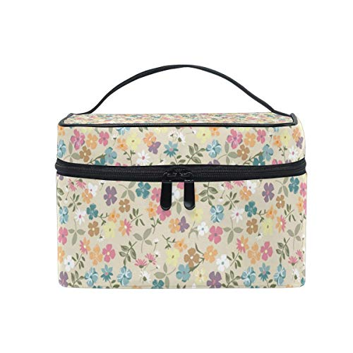 Borse per cosmetici Travel Makeup Cosmetic Bags Cute Vintage Daisy Background Toiletry Bags Makeup Suitcase For Women Travel Daily Carry