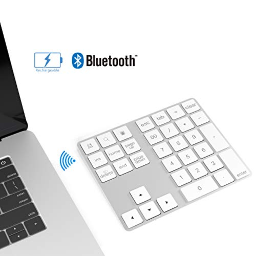Cateck Bluetooth Ziffernblock 34 Tasten Nummernblock NumPad kabellose Nummer Tastatur wiederaufladbar Numerische Tastatur für Computer Laptop Tablet iPad kompatibel mit MacBook Windows Surface Pro