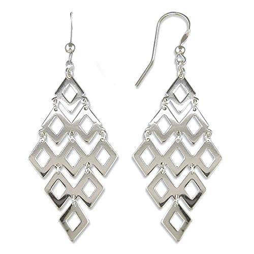 HIKARO Sterling Silver Jewelry Diamond Shape Drop Earrings for Women Teen