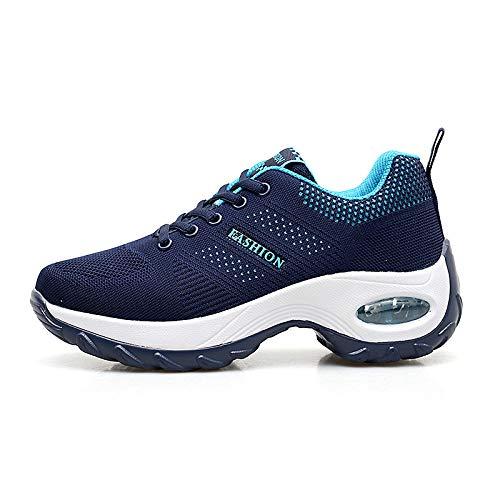 LXQLFY Zapatos de Sacudida de Fondo Grueso Tejido Volador, Cojines Antideslizantes, Zapatos de Viaje, cuñas, Zapatos Casuales para Caminar, Mayor absorción de Impactos, Zapatos de madre-40