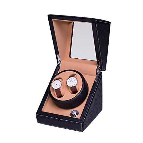 QLL Lussuoso Watch Winder 2 Carica Orologi Automatici Box, a Due Posti Meccanismo Silenzioso Similpelle Vetrina Trasparente (Color : Black-13x13x15cm)