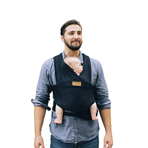 Tuck and Bundle - Lightweight Baby Wrap Carrier - Onyx (Black) - Best Baby Wrap for Newborns 0-15 Months (0-25 lbs) - Comfortable, Simple, and Hands-Free Babywearing Wraps Made of 100% Micromodal