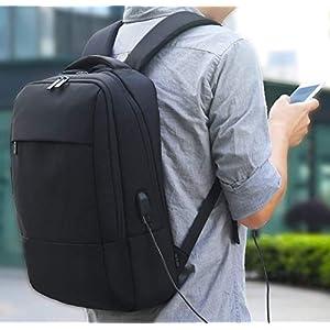 411H7USIRUL. SS300  - Mochila para Portátil, REYLEO Mochila Negocio Impermeable con Puerto de USB para Hombre Mujer Estudiante - Negro