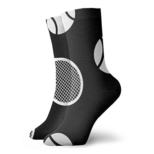 Black And White Tennis P Leisure Sport Short Socks 30cm/11.8inch Suitable For Men Women Gift Socks