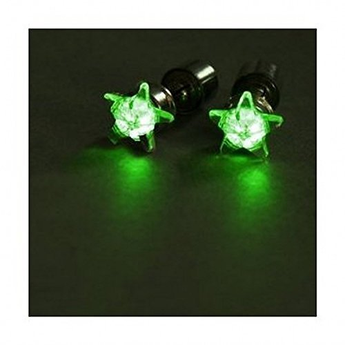 FreshGadgetz 1 Set di Orecchini LED forma Stella Corona splendente (Green Star)