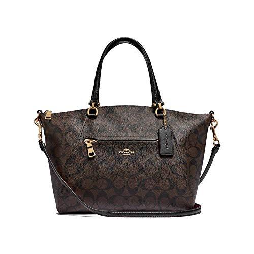 Coach Womens Prairie Satchel Bag (Brown Black)
