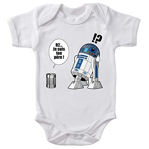 Star Wars Baby-Body, weiß, parodisch, R2-D2 – Ich bin dein Vater: Vorratsdose (Parodie Star Wars) Gr. 86, weiß